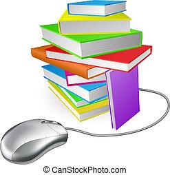 boek, muis, stapel, computer