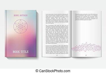 boek, ontwerp, mal