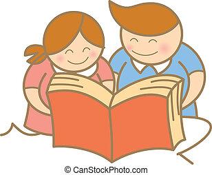 boek, open, lezende , geitjes