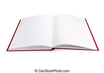 boek, open, pagina's, leeg