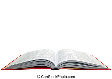 boek, open, rood