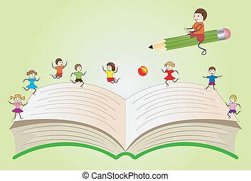 boek, open, spelende kinderen