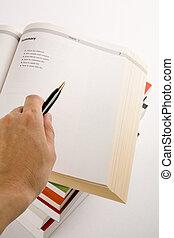 boek, open, wijzende
