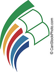 boek, opvoeden, logo, pictogram, &