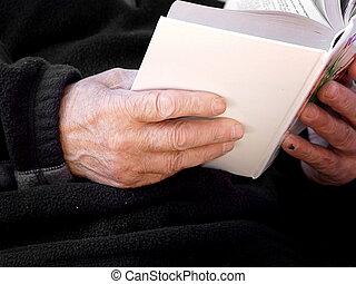 boek, oud, handen
