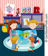 boek, ouders, lezende , kinderen