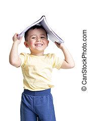 boek, over hoofd, peuter, vrijstaand, kind, zijn, witte