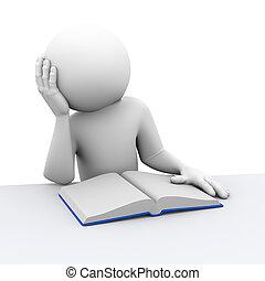 boek, persoon, 3d, verveeld, lezende