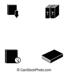 boek, pictogram, set