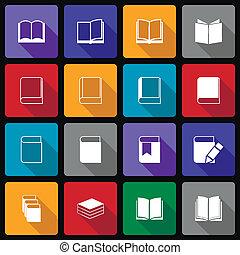 boek, pictogram, set, wiht, lang, schaduw