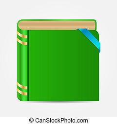 boek, pictogram, vector, illustratie