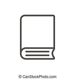 boek, pictogram, vector., lijn, bibliotheek, symbool.