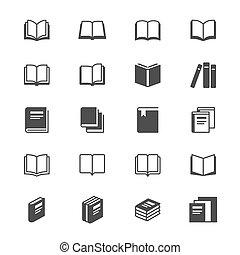 boek, plat, iconen