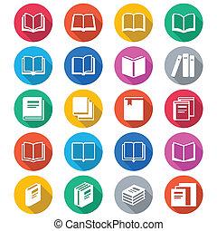 boek, plat, kleur, iconen