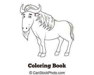 boek, savanne, kleuren, afrikaan, wildebeest, dier