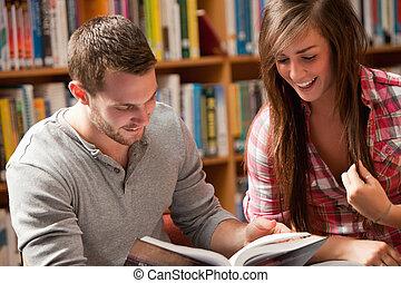 boek, scholieren, lezende
