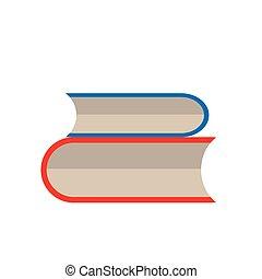 boek, set, vector, op wit, achtergrond