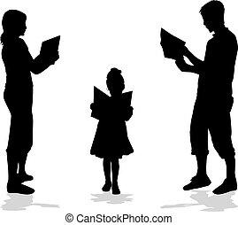 boek, silhouette, lezende , gezin