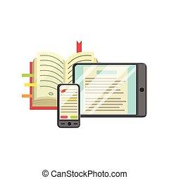 boek, smartphone, moderne, leren, tablet