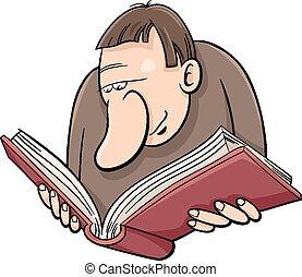 boek, spotprent, illustratie, lezer