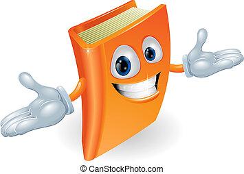 boek, spotprent, karakter, mascotte