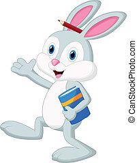 boek, spotprent, konijn, vasthouden