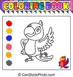 boek, spotprent, vogel, kleuren, vrolijke