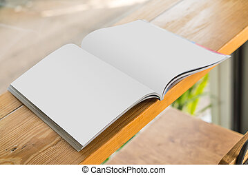 boek, spotten, op, catalogus, hout, achtergrond, leeg, ...