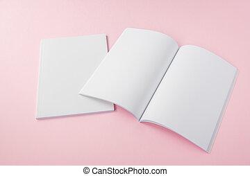 boek, spotten, op, catalogus, leeg, informatieboekje , ...