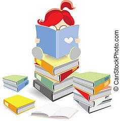 boek, stapel, boekenworm, zittende