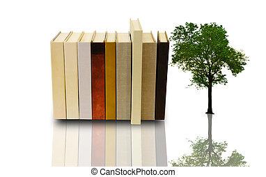 boek, stapel, boompje, eenzaam