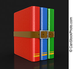 boek, stapel, riem