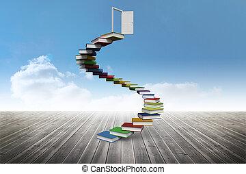 boek, stappen, toonaangevend, om te openen, deur, aga