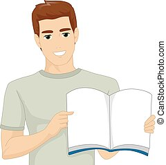 boek, storytelling, man