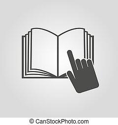 boek, symbool., icon., leerprogramma, instructie, open, ...