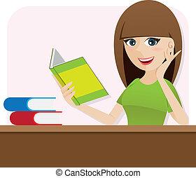 boek, tafel, girl lezen, spotprent, smart