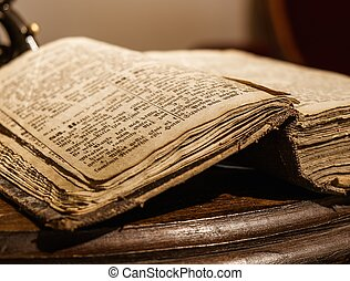 boek, tafel, houten, ouderwetse