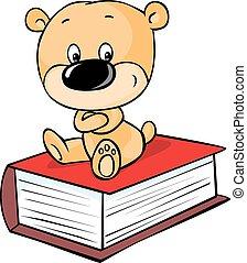 boek, teddy, vrijstaand, beer, zittende