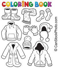boek, thema, kleuren, 3, kleren