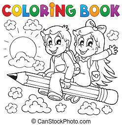 boek, thema, kleuren, 3, pupil