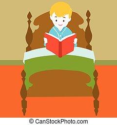 boek, vector, -, lezende , kind