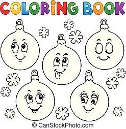 boek, versieringen, 1, kleuren, kerstmis