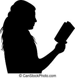boek, vrouw, silhouette, lezende