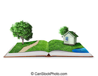 boek, wereld, groene, open, natuur