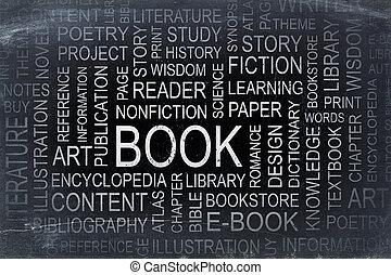 boek, woord, wolk, op, een, lei, bord