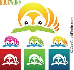 boek, worm, iconen
