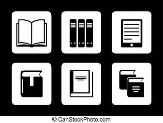 boek, zwarte achtergrond, iconen