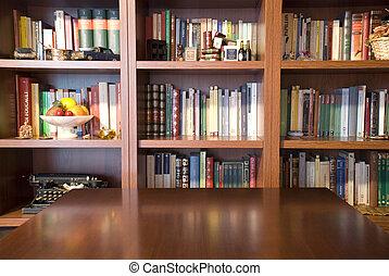 boekenkast, en, tafel