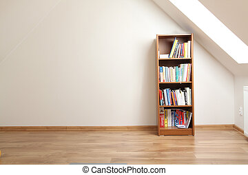 boekenkast, in, empty room