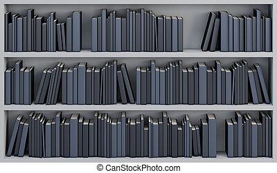 boekenkast, met, de, boekjes
